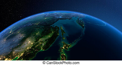 Detailed Earth. Russian Far East, the Sea of Okhotsk on a moonlit night