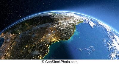 Detailed Earth. South America. East Coast of Brazil