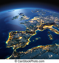 Detailed Earth. Spain and the Mediterranean Sea on a moonlit...