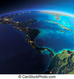 Detailed Earth. The countries of Central America - Highly...