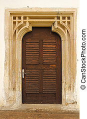 detailed entrance of old church