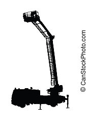 Detailed Fire Truck Silhouette with High Extended Ladder