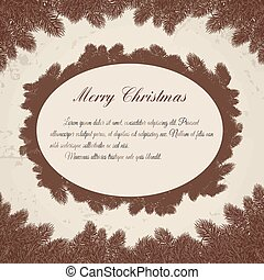 Christmas background - Detailed frame with fir on white...