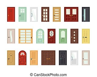 Detailed front doors flat vector icons set. Room, office doorway. Cartoon closed contemporary doors isolated on white background collection. Color house entrances modern design. Exterior elements