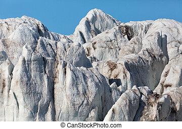 detailed front view of Esmarkbreen glacier in Spitsbergen