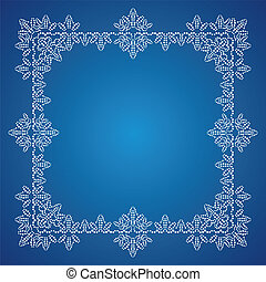 Detailed white frosty Christmas frame on blue background