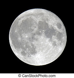 Detailed closeup of a full moon showing craters