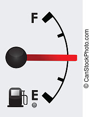 detailed gas tank, half full or half empty