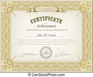 Detailed gold cerificate - Vector illustration of detailed...