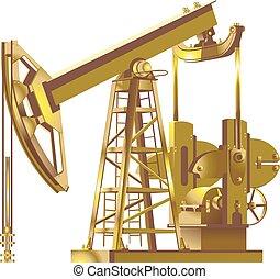 Detailed gold Oil pump, pumpjack vector illustrations - Oil...
