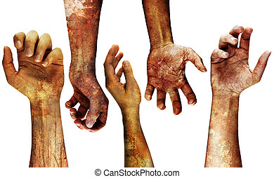 detailed grungy hands - very detailed grungy hands isolated...