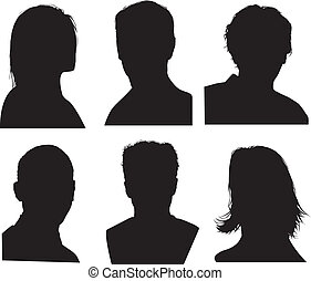 detailed head silhouettes - set of silhouettes of heads, ...