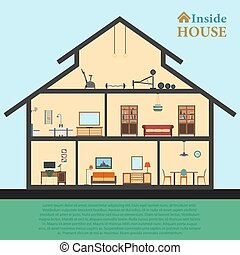 Detailed house in cut. Different modern furniture interiors. Flat style vector illustration