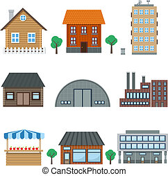 building icons - Detailed houses and building icons set ...