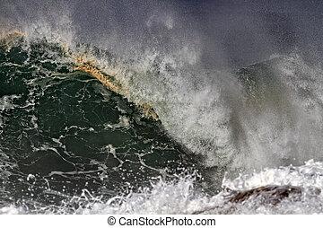Detailed huge breaking wave