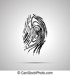 Detailed human fingerprint, simple black icon with shadow -...