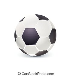 Detailed icon of ball for game in classic football. Realistic soccer ball isolated on white background, 3D illustration