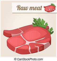 Detailed Icon. Raw fresh meat. Vector illustration