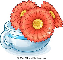 Red flowers in cup isolated on white background