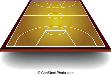 basketball court with perspective - detailed illustration of...