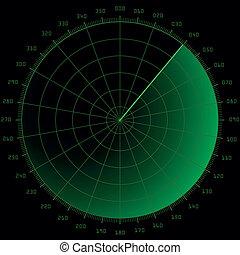 radar screen - detailed illustration of a blank radar screen...