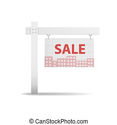 detailed illustration of a blank real estate with the shadow depicting the silhouette of the city, houses. vector illustration on white background