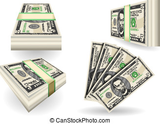 full set of five dollar banknotes - Detailed illustration of...