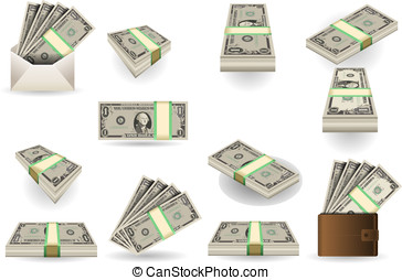 full set of one dollar banknotes - Detailed illustration of...