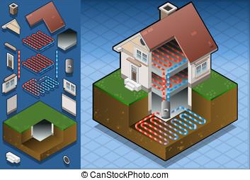 geothermal heat pump/underfloorheat - Detailed illustration...
