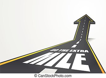 go the extra mile - detailed illustration of a highway road ...