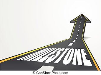milestone - detailed illustration of a highway road going up...