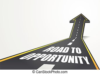 detailed illustration of a highway road going up as an arrow with road to opportunity text, eps10 vector