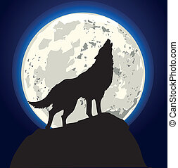 howling wolf - detailed illustration of a howling wolf in ...