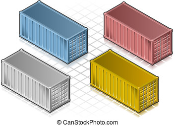 isometric container in various colors - detailed...