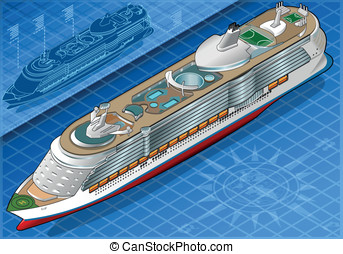 Isometric Cruise Ship in Front View - Detailed illustration...