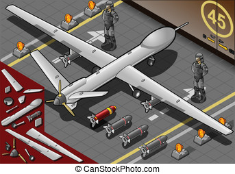 Isometric Drone Airplane Landed in Rear View - Detailed...