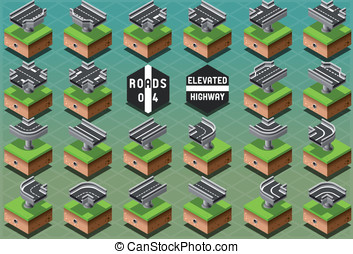 Isometric Elevated Highway on Green Terrain - Detailed...