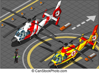 Isometric Emergency Helicopters in Front View - detailed...
