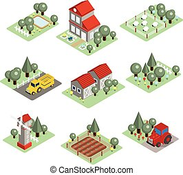 Detailed Illustration of a Isometric Farm