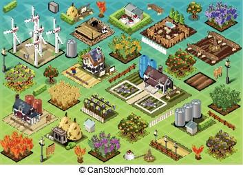 Isometric Farm Set Tiles - Detailed illustration of a...
