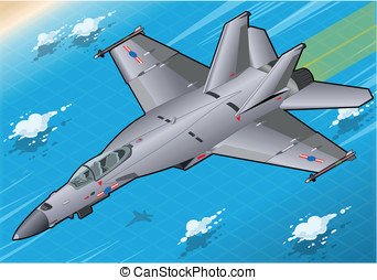Isometric Fighter Bomber in Flight in Front View - Detailed...