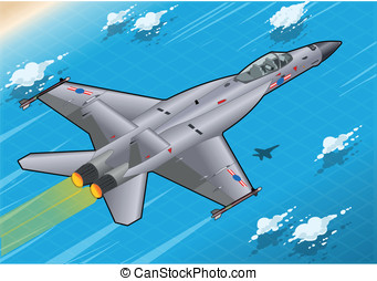 Isometric Fighter Bomber in Flight in Rear View - Detailed...