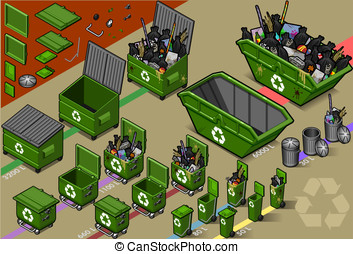 isometric garbage container in varius sizes - detailed...