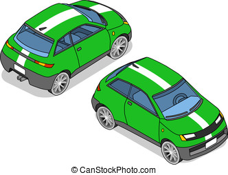 isometric green car in two position - detailed illustration...