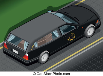 Isometric Hearse in Rear View - Detailed illustration of a...