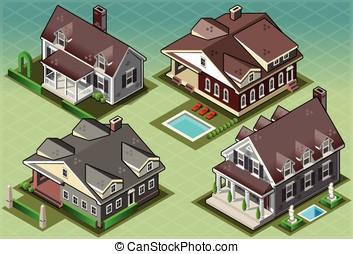 Isometric Historic American Building - Detailed illustration...