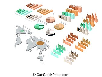 Detailed illustration of a Isometric Infographic Set