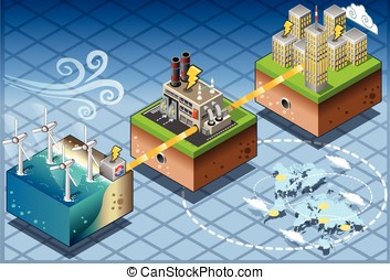Isometric Infographic Windmill Offshore Renewable Energy...
