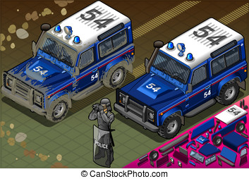 Isometric Police Off Road Vehicle in Front View - detailed...