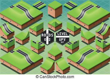 Isometric Roads on Two Levels Terrain - Detailed...